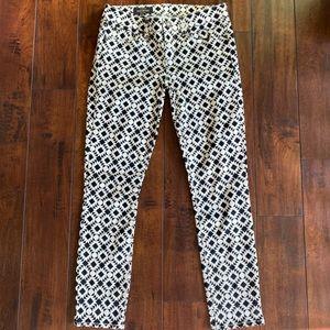 J. Crew Black & White Geometric Toothpick Jeans 26